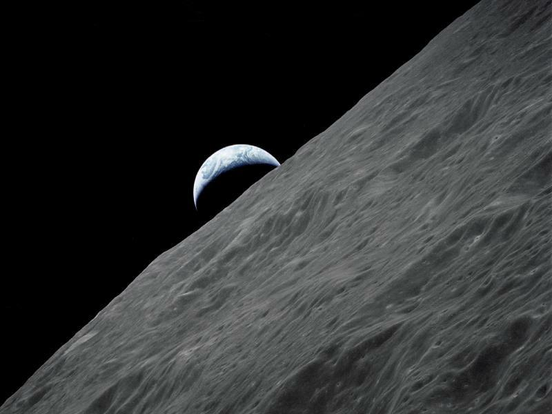 Earth seen rising from moon, Apollo 8